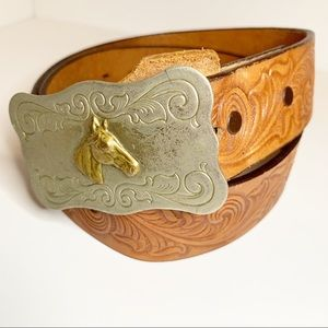 Vintage Horse Buckle Tooled Leather Belt Western